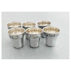 French Sterling Silver Liqueur Cups - 6pc