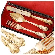 Antique French Silver & Vermeil 3pc Flatware Set - Louis Philippe era