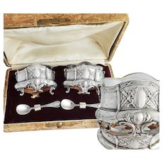 Boxed French Sterling Silver Open Salt Cellars and Salt Spoons - Empire decor