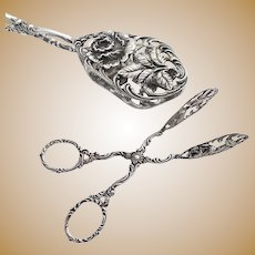 German .835 Silver Pastry, Cake Tongs - Rose decoration