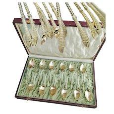 Set of Twelve German 800 Silver & Vermeil Coffee, Demitasse Spoons - 'Jagd' Spoons
