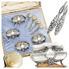 Boxed French Sterling Silver & Vermeil Open Salt Cellars and Salt Spoons