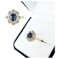 18K Gold Sapphire and Diamond Ladies Ring, London 1969