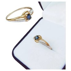 French 18K Gold Sapphire Ring
