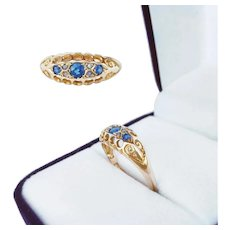 18K Gold Three Stone Sapphire & Diamond Boat Ring, 1918