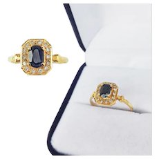 Vintage French 18K Sapphire Gold Ring