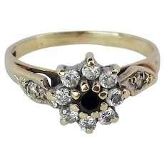 Vintage English 9K Sapphire and CZ Gold Ring