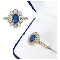 18K Gold Sapphire &  Diamond Daisy Cluster Ring