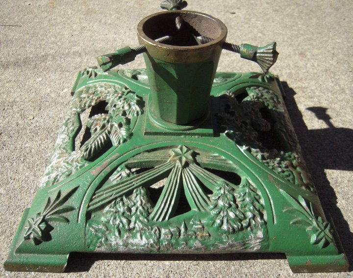 C1930s Cast Iron Christmas Tree Stand Blue Spruce Rugs And