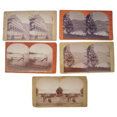 Lot of 5 1870s Stereoviews of Ft. William Henry Hotel, NY by Stoddard