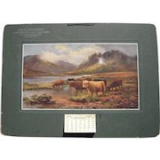 "Large 1917 Advertising Calendar ""Highland Cattle-Loch Katrine"""