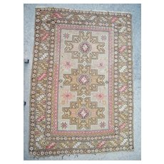 c1900 Antique Caucasian Rug 3' x 5'