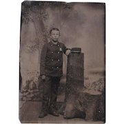 Sixth Plate Tintype of Cadet Boy