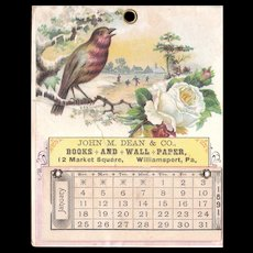 1891 Advertising Calendar from Williamsport, PA - Red Tag Sale Item