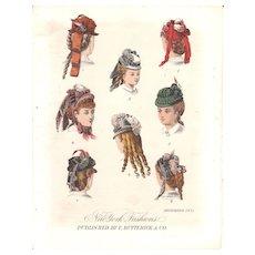 Lot of 3 Color Lithograph Fashion Prints December 1871