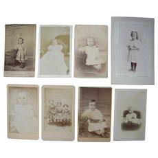 Lot of 8 1860s CDV Photos of Children Plus I small CDV Sized Photo