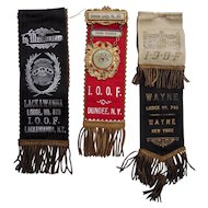 Lot of 3 Early NY State Independent Order of Odd Fellows (IOOF) Ribbons