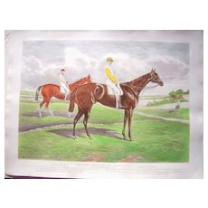 """Large Antique Horse Racing Print """"Dead Heat For The Derby 1884"""""""