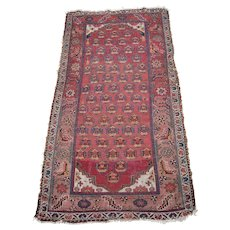 c1890s Antique Hamadan Persian Rug w/People 4' x 7'