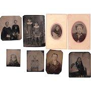 Lot of 8 Tintypes of Children