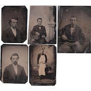 Lot of 5 Tintypes of Men Including a Butcher w/Tools