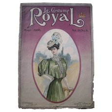 Pair Large 1906 Women's Fashion Color Plates from Le Costume Royal Magazine