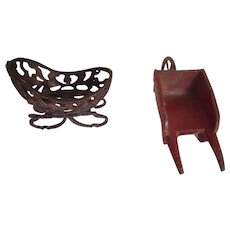 Pair Vintage Toy Metal Miniatures Wheelbarrow and Sleigh - Red Tag Sale Item