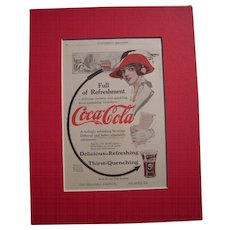 c1915-1920 Matted Coca Cola Magazine Advertisement #1