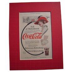 c1915-1920 Matted Coca Cola Magazine Advertisement #1