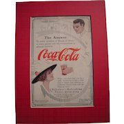 c1915-1920 Matted Coca Cola Magazine Advertisement #4