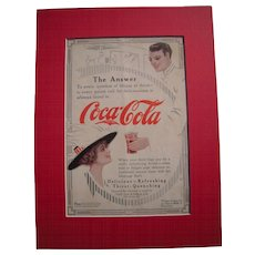 c1915-1920 Matted Coca Cola Magazine Advertisement #4