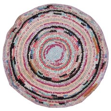 "c1920s Multicolored 28"" Round Hooked Rug"