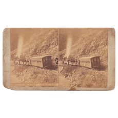 Stereoview Train in Clear Creek Canyon Colorado