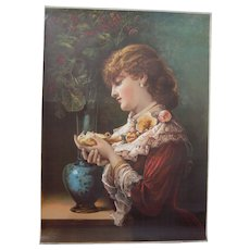 "1886 Large Full Color Lithograph ""Tender Memories"""