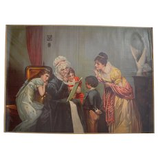 "c1880s Large Full Color Lithograph ""Grandma's Birthday"""