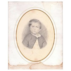 Mid 1800s Signed Pencil Drawing of Little Boy