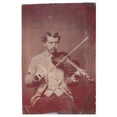 Tintype of Man Playing Violin