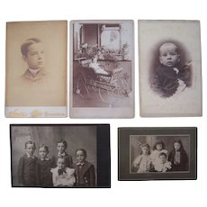 Lot 5 Cabinet Card Photos of Children, incl Outdoor Baby in Stroller