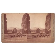 Stereoview 1870s Group at Garden of Gods Colorado