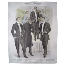 """Large 1910 Men's Fashion Print """"The Musicale"""""""