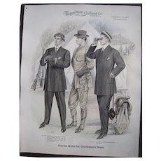 "Large 1910 Men""s Fashion Print ""National Guard Encampment"""