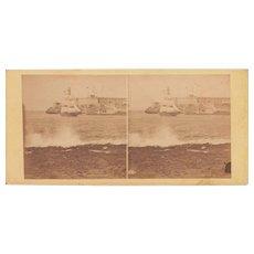 1860 Stereoview of Cuba #128 Sailboat in Havana Harbor