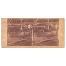 1860 Stereoview of Cuba #120 Interior of Sugar Mill