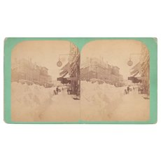 Stereoview of Portland ME after Snowstorm