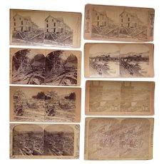 Lot of 8 1889 Johnstown Flood, PA Stereoviews