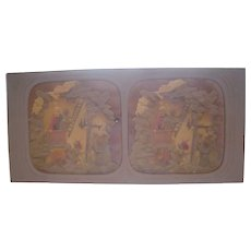 French Hand Colored Tissue Stereoview Diableries #7