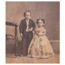 Civil War Era CDV Photo of Midgets Commodore Nutt and Minnie Warren