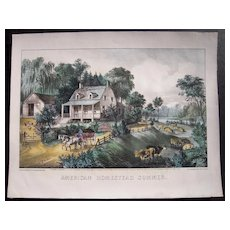 Currier & Ives American Homestead Summer Hand Colored Lithograph