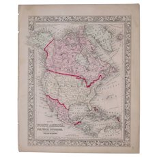 1860 Hand Colored Map of North America