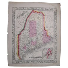 1860 Hand Colored Map of Maine